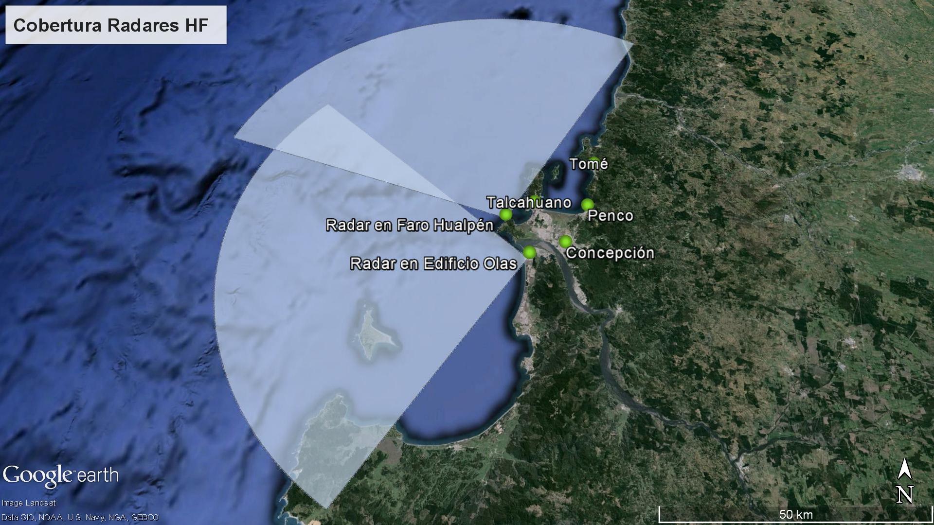Cobertura y ubicación de radares HF